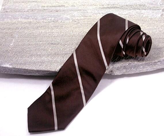 Vintage Necktie, 1980s Pierre Cardin Silk Brown Striped Retro Necktie, Mad Men Style Tie, Skinny Tie