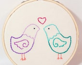 Love Birds Embroidery Hoop Small 4 Inch Teal and Purple
