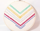 Multicolored Chevron Art Embroidery Hoop wall decor bright primary colors Rainbow Art tribal art wall hanging chevron decor