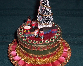 Victorian Style Christmas Decoration - Candy/Gift Box with Vintage Toys and Bottle Brush Tree