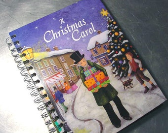 a Christmas Carol JOURNAL  Sketchbook Scrapbook Recycled Upcycled Altered