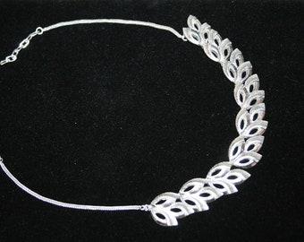 Made In Germany Adjustable Vintage Choker Silvertone Leaf Necklace