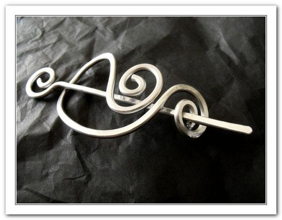 Custom hammered silver toned aluminium shawl pin