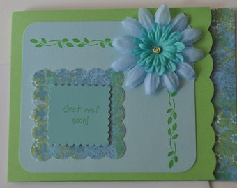 Green/Blue Get Well Card with Patterned Paper and Fabric Flowers