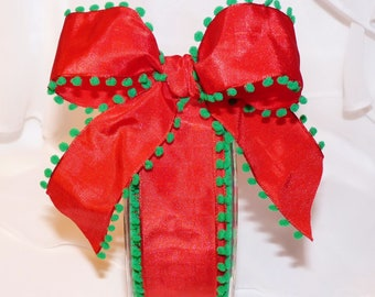 POM-POM EDGE wired RiBbOn - ReD with GReeN Pom Poms FaNcY  Wired Ribbon   Pretty Packages and Gifts - Hairbows - Giftwrap - Bows
