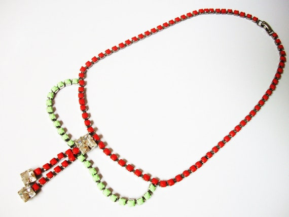 SUPER HUGE SALE used to be 30 1950s Vintage One Of a Kind Hand Painted Neon Red and Pastel Green Rhinestone Necklace-Extender Available