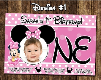 Minnie Mouse Polka Dots Birthday Party Photo Invitations - Printable