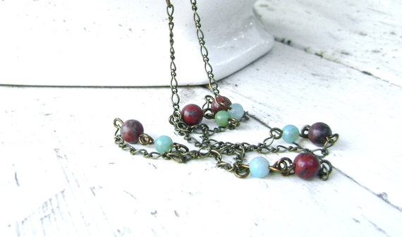 CLEARANCE SALE - Long Beaded Chain Necklace - Amazonite and Red Jasper - Opera Length Necklace - BOHEME Collection