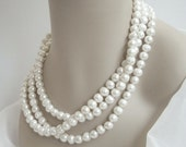 Reserved for Elizabeth : Long Pearl Necklace, 60 Inch Cultured Pearl Necklace, Statement Necklace, Pearl Bridal Jewelry