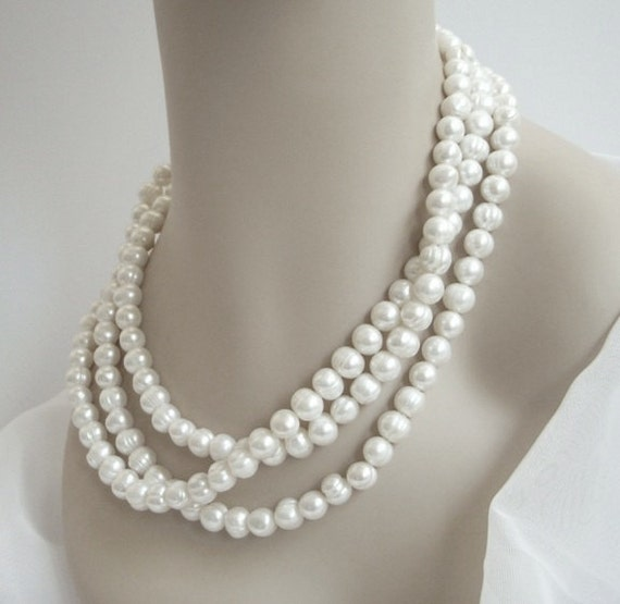 60 Inch Long Pearl Necklace, Cultured Pearl Necklace, Statement Necklace, Pearl Bridal Jewelry, Chunky Pearl Necklace
