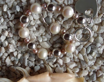 White Pearl Bracelet with Sterling Silver Heart , Match for 'The One'