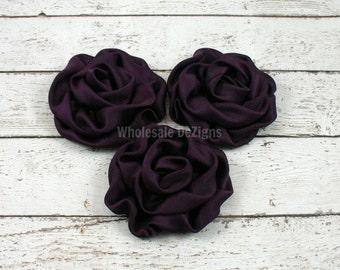 Plum Satin Rolled Rosette Flowers - Set of 3 Deep Purple