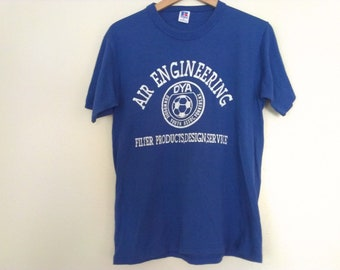 80s vintage eighties blue engineering soccer tshirt medium
