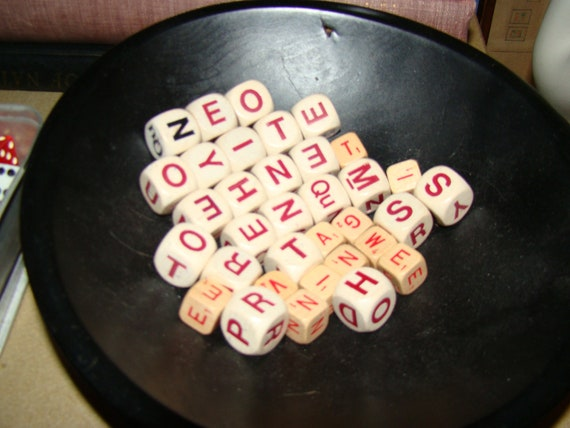SALE Awesome Lot of Vintage Wood Boggle Game Word pieces Dice Letters Crafting Industrial decor