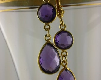 Dangly Amethyst Teardrop  Earrings