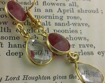 Fire and Ice: Raw Ruby and Faceted Clear Quartz Tear drop Earrings