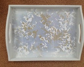 Wedding Favor Tray / Frosted Hand Decorated Shabby Chic Wooden Tray w/ White Finish