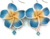 Light Blue Yellow Clay Hawaiian Flower Earrings with Swarovski Crystals