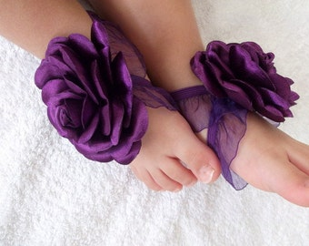 Purple Rose with Satin Fabric  Baby Barefoot Sandals- Baby Sandals - Barefoot Sandals-Handmade Baby Sandals