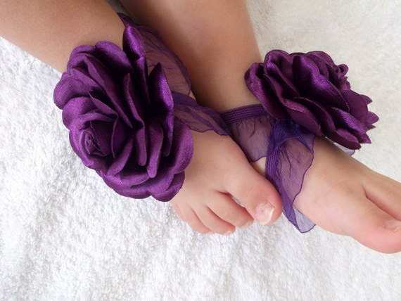 Purple rose with satin fabric baby barefoot sandals baby for Purple baby fabric