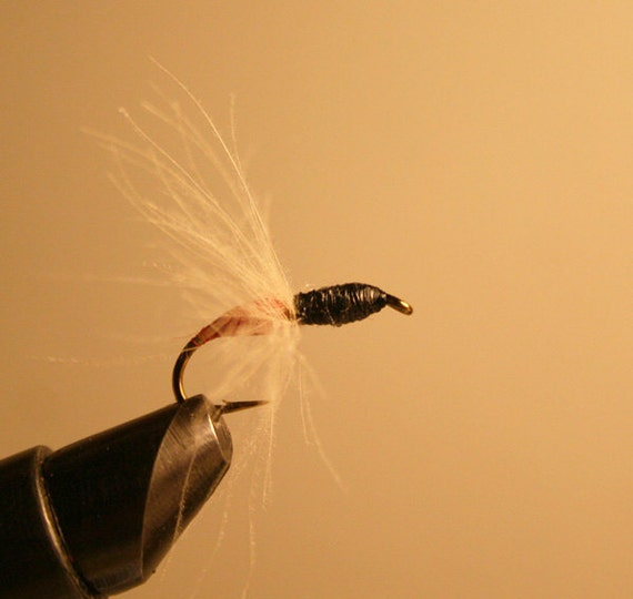 Fishing Gear - Red and Black Ant - Hard Body Thread with Tan Cul-de-Carnard - Number 10 Hook - Gift for Him - Gift for Her