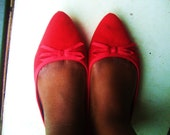 Vintage Red Pointed Ballet Flat Shoes & Bow UK 6 / UK 8