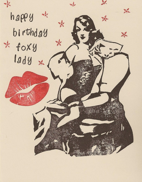 Items similar to Sexy Foxy Lady Pin Up Happy Birthday ...