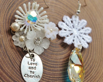 White Snow Flower Mismatched Earrings - To Love And To Cherish - romantic jewelry - lace daisy, stamped silver word tag & swarovski crystals