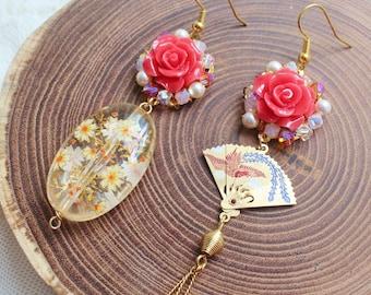 Oriental Fan Mismatched Earrings - Memoirs of a Geisha inspired romantic jewelry - folding fan charm, coral rose & Japanese tensha bead