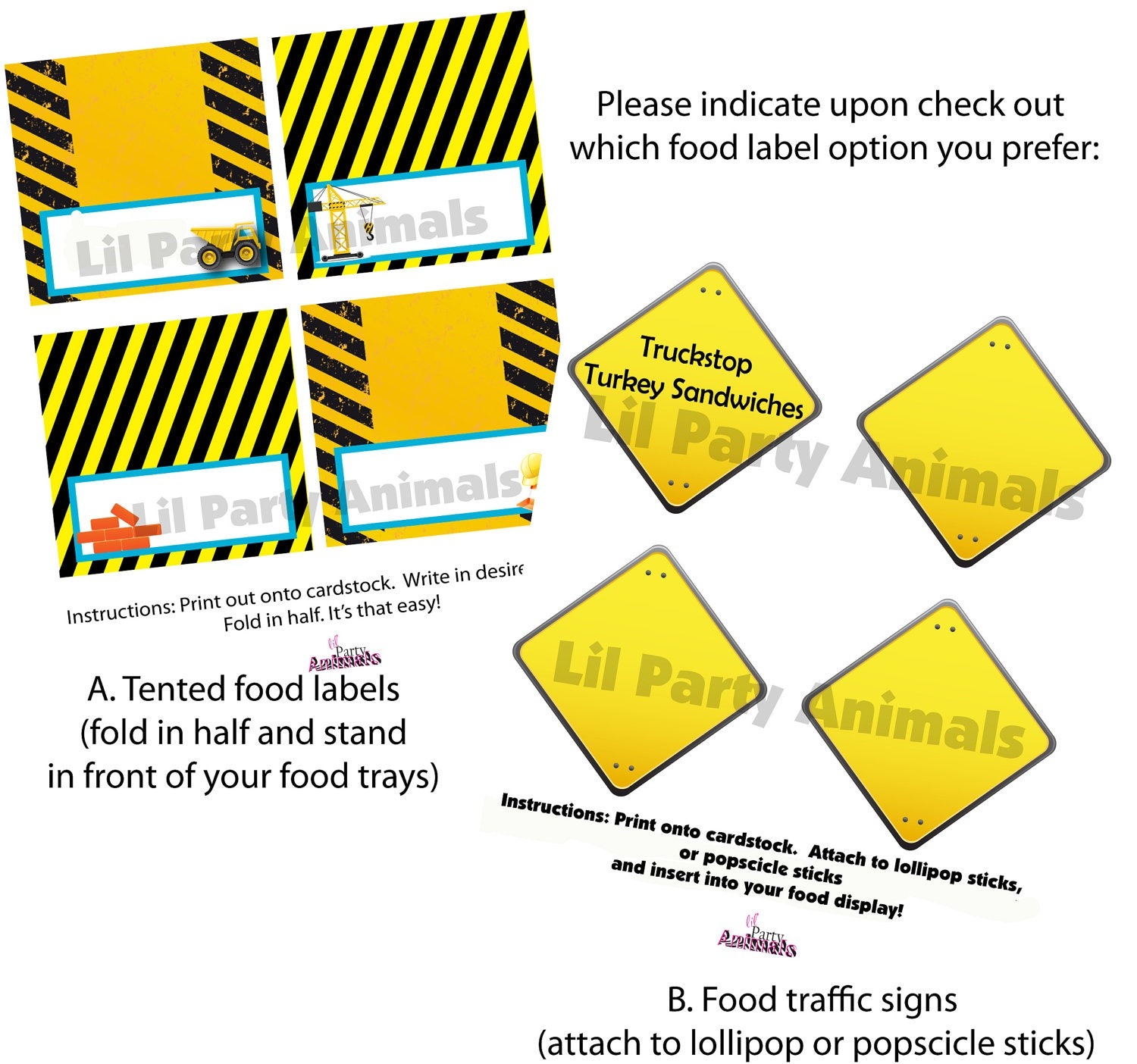 Construction Birthday Party Food Ideas: DIY Printable Construction Party Food Labels INSTANT