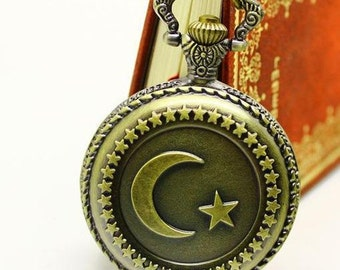 1pcs 45mmx45mm Bronze Moon and Star pocket watch charms pendant PW0557
