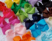 Classic Boutique Hair Bow on Alligator Clip - You Pick 4 Hair Bows - Toddler Hair Clip - Special Price - Solid Grosgrain Ribbon