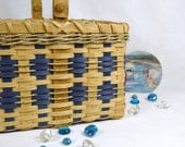 Reed or Wicker Market Basket or Tote with Nautical Blue and Sea Grass Accent