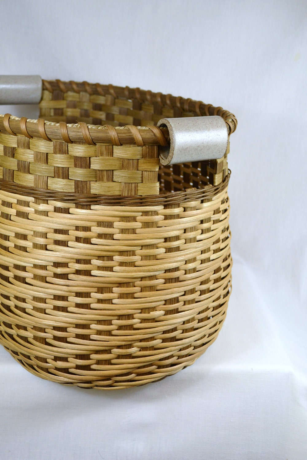 How To Weave A Basket Out Of Reeds : Large reed or wicker storage basket for by brightexpectations