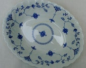 Classic Blue and White, oval vegetable bowl, Myott Finlandia Made in Staffordshire, England.