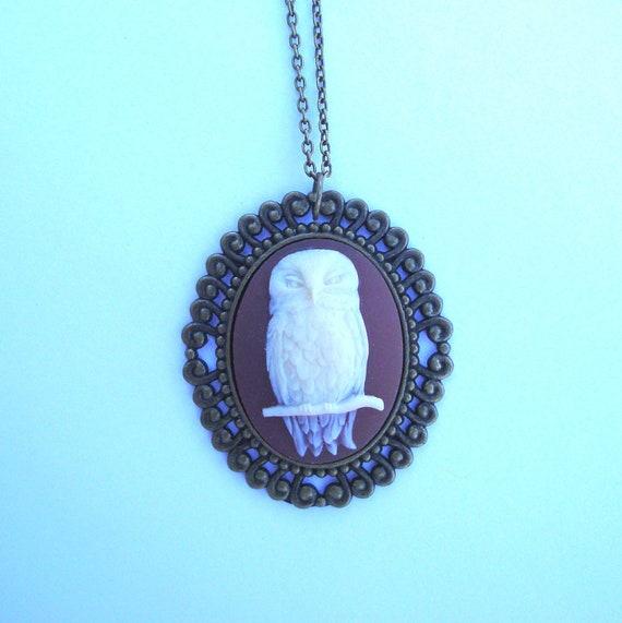 Owl Cameo Necklace on Vintage Bronze Tone Necklace - Carnelian, Unique Jewelry