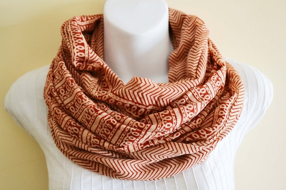 Deep Red and Cream, zig zag Infinity Scarf - Hand block printed, Natural Vegetable Dyes, 100% Cotton Loop Scarf, Infinity Cowl, Tube Scarf