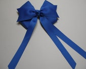 Blue Hair Bow Back to School Girl Uniform Streamers Tails CHEER Traditional Basic Classic Retro Style Spirit Wear
