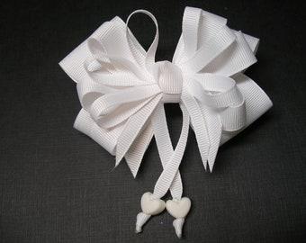 White Hair Bow Sweetheart HEART Boutique Streamers Tails Toddler Girl Grosgrain Handmade
