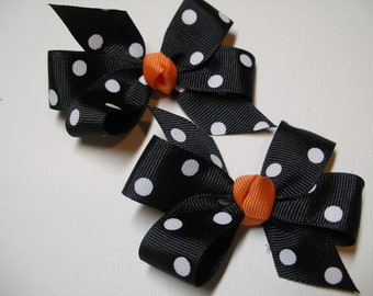 Halloween Black Polka dot U pick Knot Piggy Tail Hair Bows