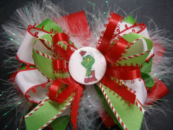 Over the Top GRINCH OOAK Hair Bow Large Boutique Toddler Girl Handmade White Glitz Marabou Lime Green Christmas Red