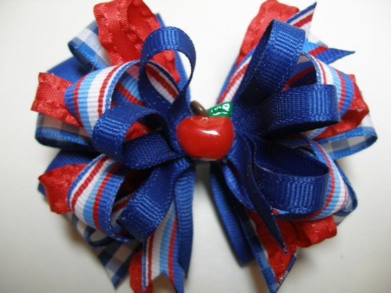 Back to SCHOOL Hair Bow Boutique Red  Apple Royal Blue Toddler Girl PreSchool Grosgrain