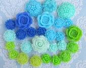 27pcs Assorted Blue and Green Cabochon Sampler Pack Australia