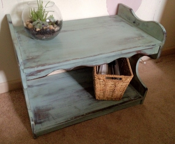 Vintage End Table Painted Distressed Solid Wood