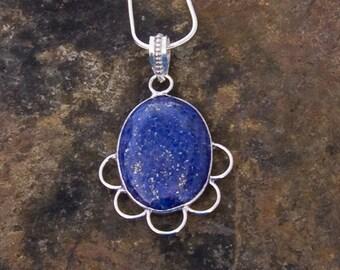 Lapis Lazuli Pendant, Sterling Silver Necklace
