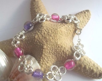 Purple & Pink beaded chainmaille bracelet - Japanese Chain Maille