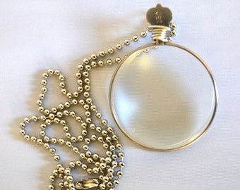 Monocle Necklace Vintage Optical Lens Pendant Cosplay Costume Reenactment Period Jewelry