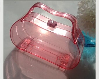 Retro look pink Perspex clutch
