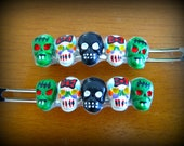 Bows and Zombie skulls Horror Haunted Hair Candy Barrette
