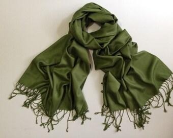 SALE olive green pashmina scarf, olive green pashmina shawl, olive green fashion scarf, pashmina scarf, pashmina shawl, scarf, keepsake
